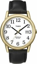 Timex T2H291, Men's Easy Reader, Black Leather Watch, Indiglo, Date