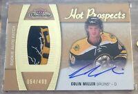 15-16 Fleer Hot Prospects Rookie 3 Color Bruins Patch Auto Colin Miller #D/499