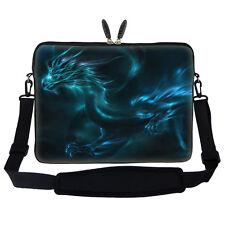 "17.3"" Laptop Computer Sleeve Case Bag w Handle & Shoulder Strap Blue Dragon"