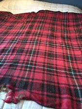 "VINTAGE 19-20TH C HAND WOVEN RED / BLACK  PLAID WOOL BLANKET KNEE RUG 72"" x 70"""