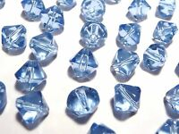 100pc Crystal Glass Value Bicone Beads- Sky Light Blue 6mm (BB6013) Bulk Pack