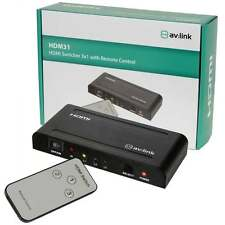 AV:link 1080P 3 Way HDMI Splitter Switcher Hub + Remote - HDTV SKY Box PS3 Xbox
