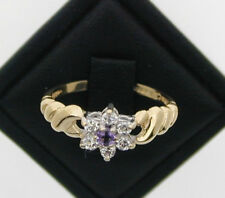 Flower ring 1992 9ct Yellow Gold Cubic Zircon and Ameythst Ring size L