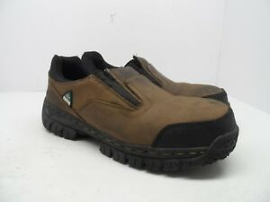 SKECHERS Men's Steel Toe Composite Plate Work Double Gore Slip-On Shoe Brown 10M