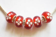 5 Lampwork Glass Charm Beads- Fit Charm Bracelet - Red, White Flower,Rhinestone