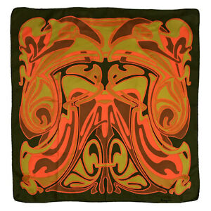 BAYRON CAMOUFLAGE GREEN LARGE HAND ROLLED Silk Scarf 30 in #A9