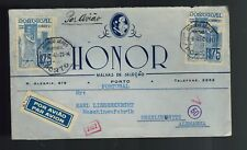 1941 Porto Portugal to Oberlungwitz Germany Airmail WWII Business Stamped Cover