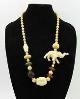 Vintage Bohemian Exotic Elephant Large Wood Beaded Bib Necklace