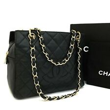 CHANEL Quilted Petite Timeless CC Logo Caviar Skin Chain Shoulder Tote Bag /427