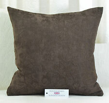 """CUSHION COVER 17""""x17"""" 43cm sq Chocolate Brown Chenille Floral Self Pattern"""