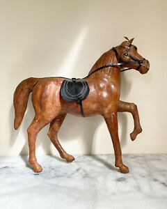 Old Leather Wrapped Horse Statue Brown With Saddle