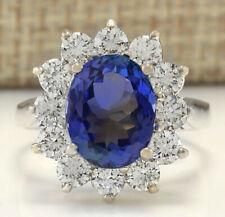 5.44 Carat Natural Tanzanite 14K White Gold Diamond Ring