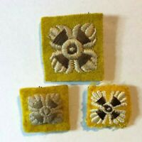 3 British Army Officers Rank pips badges Yellow Background