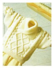 Knitting pattern baby sweater, baby jumper, pullover in 4 ply.inc. pem size.