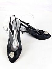 Lilley & Skinner Kitten Heel Black Satin Party Slingback Shoes Jewel 6 UK