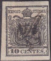 1850 - Lombardo Veneto - I Emissione 10 Centesimi Nero - S. 2 - Firmato Cardillo