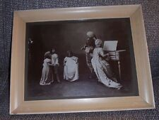 Framed music family photo, 3 girls dancing, mother harpsichord, father violin