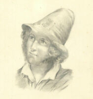 Early 20th Century Graphite Drawing - Young Man with Hat