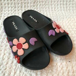 Prada Black Floral Print Slides Sandals Pressed Rubber Pink Purple Red Size 36 6