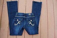 Dark Blue ROCK & REPUBLIC Kasandra Stretch Boot Cut Jeans w/Gold Metal Studs 0