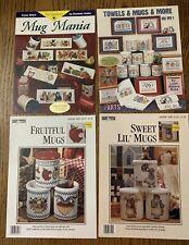 Cross Stitch Mug Patterns Booklets Lot of 4 Mugs Mania Sweet Mugs Fruitful Mugs