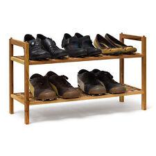 Schuhregal Walnuss stapelbar mit 2 Ablagen Schuhablage Holz Schuhschrank 2 Böden