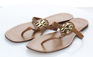 97-74 $178 Women Sz 10 M Tory Burch Mini Miller Leather Thong Sandal Tan
