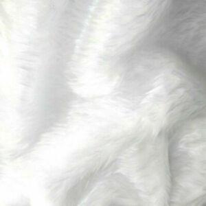 "Luxury Soft Short Pile White Faux Fun Fur Fabric 60"" 150cm wide Furry Christmas"