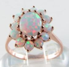 9CT 9K Rose Gold Australian Opal Cluster Art Deco Ins Ring Large Free Resize