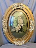 Vtg Lrg CONVEX GLASS Antique Gold Oval GESSO Boy Dog Irish Setter Picture Frame