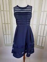 Esley Size Medium Dress Sleeveless A-Line Skater Fit Flare Illusion Navy Blue