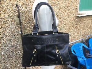 Large black leather shoulder bag