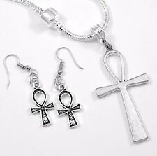 Ankh Earrings Cross necklace Set Gift chain Ankh Present Ankh Pendent necklace