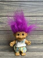 "Vintage Russ Troll Doll 8"" Item No 18366 Multicolored Shorts Purple Hair"
