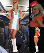 Sexy Stewardess Air Hostess Flight Attendant Pilot Fancy Dress Costume +Hat S/M