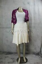 $1390 New OSCAR de la RENTA Purple White Silk Knit Crochet Sweater Jacket L