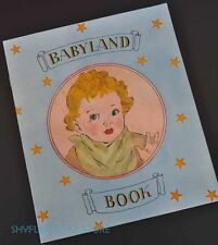 Vintage Babyland Book 1944 Real Cloth George Barrett Publication Pictures Baby
