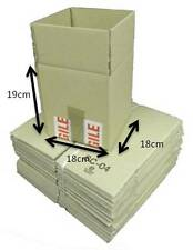 Pack of 100 Single Walled Cardboard Mailing Boxes Brown 19 x 18 x 18cm