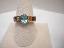 10KT Yellow Gold Multi-Gemstone Ring SIZABLE 9