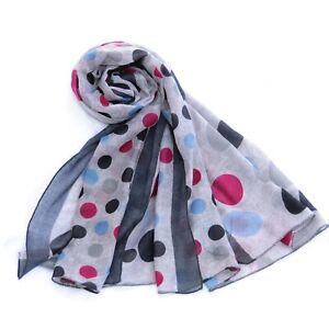 Polka Dot Print Womens Fashion Scarf (Grey)