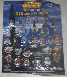 2005 Star Wars Episode III Burger King Vinyl Window Cling Toy Advertiser