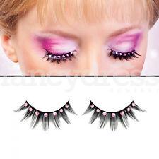 Baci Thick Black Eyelashes Pink Gems Fancy Dress New Years False Lashes 505