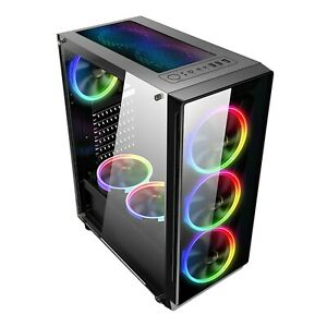 Tempered Glass Front & Side Gaming ATX Case with 6x Color FAN size 405x192x455mm