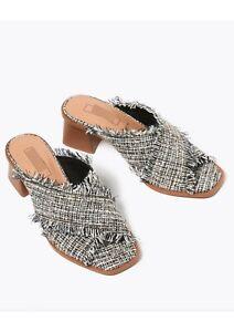 Ex M*S Vegan Wide Fit Cross Over Block Heel Mules Sandals Summer Shoe size 6