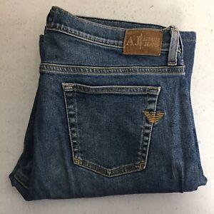 Armani Jeans AJ Womens Bootcut Blue Denim  Jeans Italy Size 32 GUC Hemmed JI23AJ