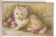 CPA  ANIMAL FANTAISIE -  CHAT CAT KATZE CHATON PERSAN NOEUD BLEU ROSES 1920 ~C40