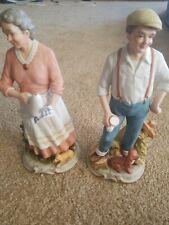 "2 Homco #1425 10"" Old Man & Woman Porcelain Figurines ""Peaceful Years"""