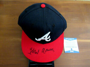 HANK AARON ATLANTA BRAVES HOF SIGNED AUTO NEW ERA AUTHENTIC CAP HAT BECKETT