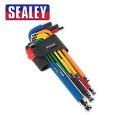 Sealey Ball-End Hex Allen Key Set 9pc Colour-Coded Long Metric AK7190