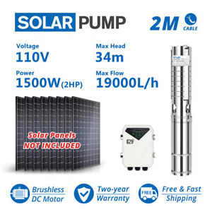 """4"""" Deep Well Stainless Steel Solar Water Pump 110V 2HP Submersible + Controller"""